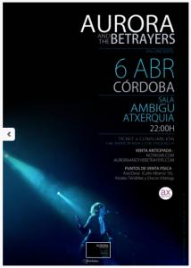 Aurora & The Betrayers @ Sala Ambigú Axerquía Córdoba